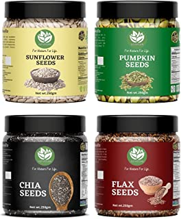 Go Vegan Healthy Raw Seeds Combo 1kg - Chia, Sunflower, Pumpkin And Flax (250gm*4), Seeds for Eating, Super Immunity Seeds...