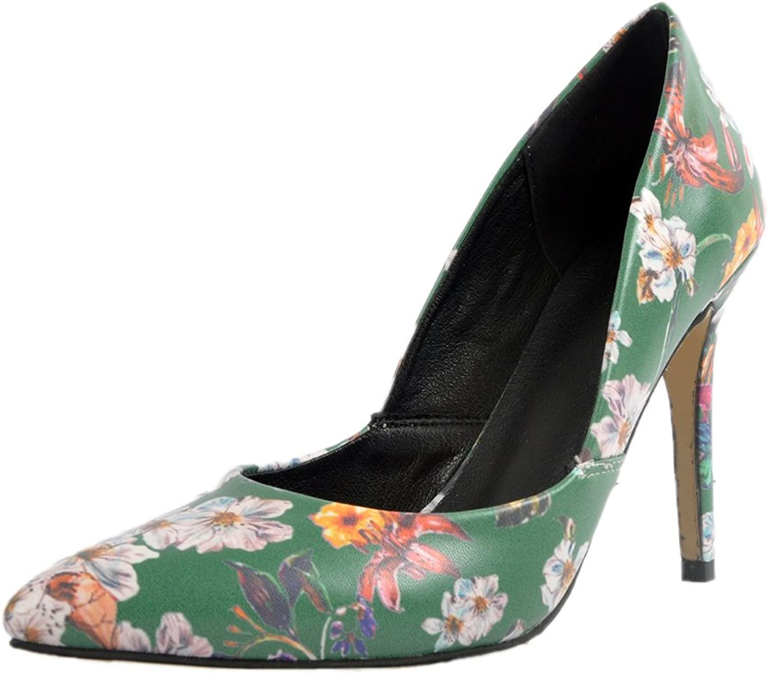 A-BUYBEA Women's Floral Leather Stiletto 4.33  Sky High Heel Dress Pump shoes Green