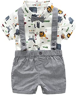 Summer Gentleman Outfits Baby Boys Clothing Sets Short Sleeve Ropmer Suspenders Shorts