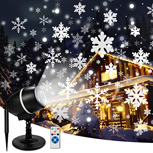 Christmas Moving Snowflake Projector Lights with Remote Control Snowfall LED Christmas Lights, Waterproof Projector Decorating Stage Light Outdoor Snowfall Holiday Party Garden Landscape Lights