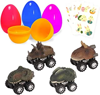 Large Surprise Eggs Filled 4 Pack Easter Eggs with Pull Back Dinosaur Cars Inside, Colorful Pre Plastic Easter Eggs Toys For Kids Easter Gifts Easter Basket Stuffers Fillers with Stickers