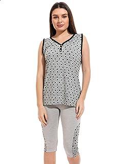 Andora Hearts Print Sleeveless V Neck T-shirt with Cropped Pants Pajama Set for Women