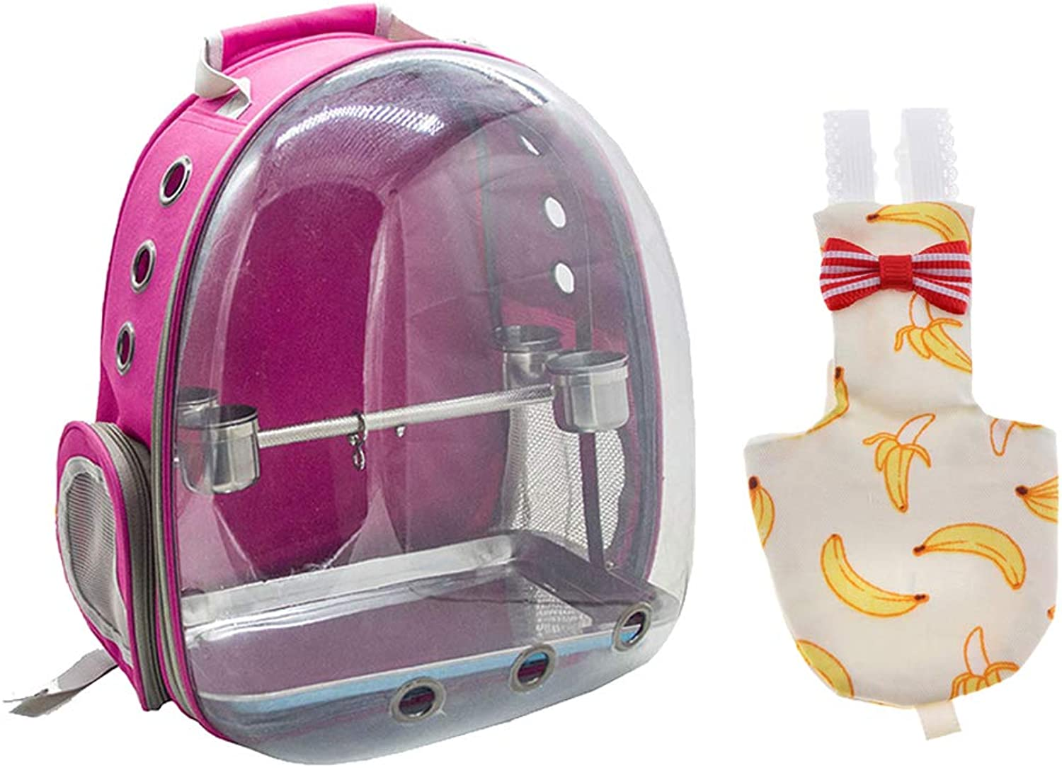 B Baosity Pet Bird Parred Travel Cage Carrier with 1 Set Perch pink Red Soft Parred Bird Nappy