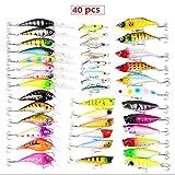 40Pcs Kits de señuelos para Pesca, LAEMALLS Cebos Artificiales de Pesca Cebo Duros/Suaves, Ojos 3D, Accesorios Cebos Articulos de Pesca para la Pesca, Trucha, Bagre, Bass, Salmón y Lucio#6