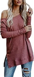 Jiangyinga Womens Off The Shoulder Knit Sweaters Casual Loose Long Sleeve Fall Pullover Tunic Tops