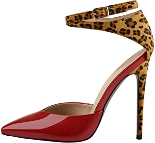 Women's Ankle Strap Stiletto Heeled Pointed Toe Pumps Strappy Sandals Prom Party Court Shoes (Color : Red, Size : 7 UK)