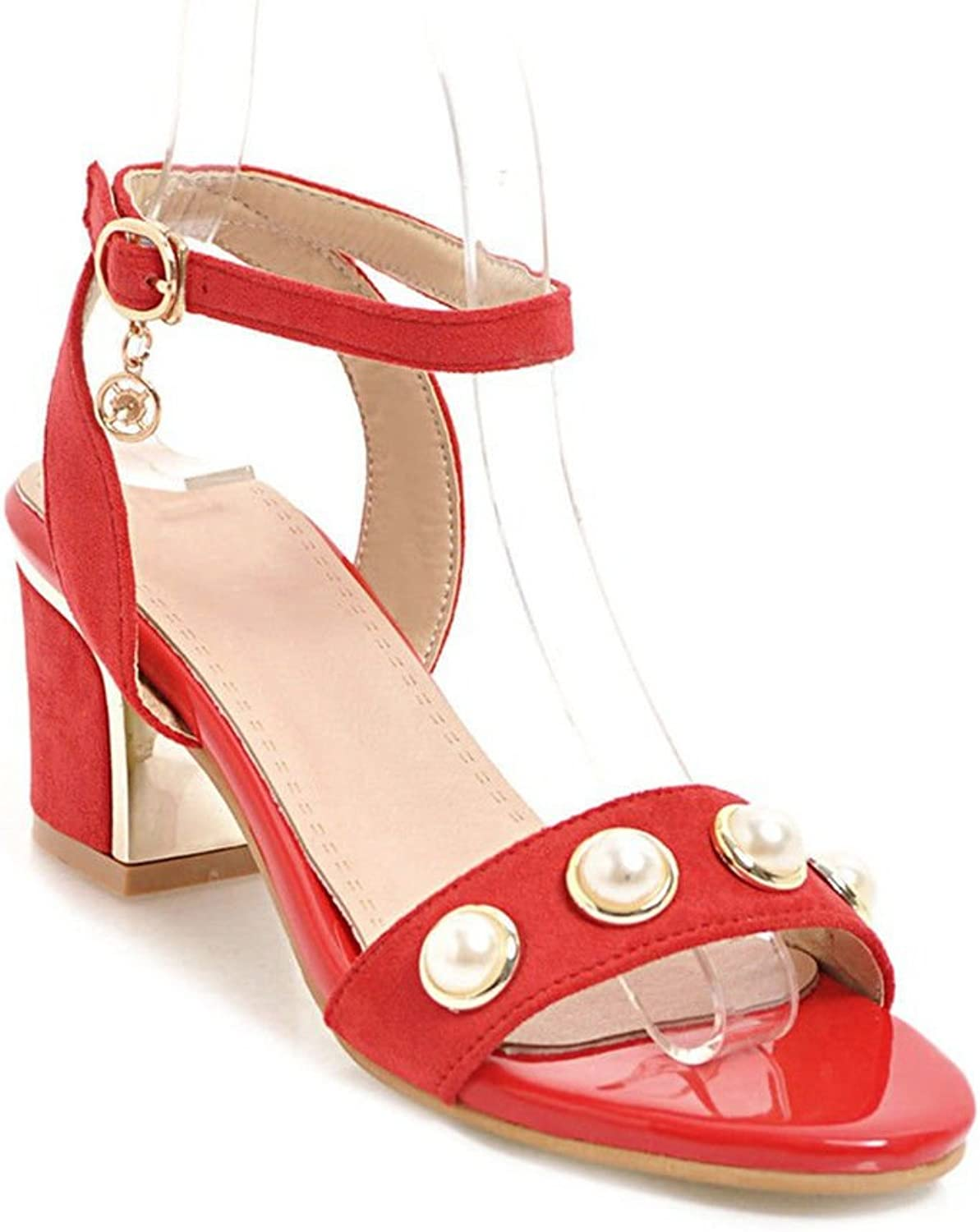 Slotted Buckle Ankle Straps high-Heeled Sandals Thick with Large Numbers of Women shoes
