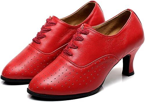 ZHRUI zapatos de Baile Latino para mujer, zapatos de tacón Medio con Cordones en la Parte Inferior Suave zapatos de Baile para salón de Baile (Color   rojo, tamaño   Foot Length=23.8CM9.4Inch)