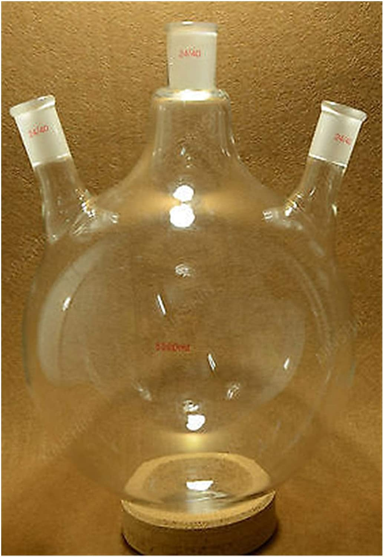 LYJASD Lyjun 5000ml, 24/40,3-cuellos, matraz de Vidrio Inferior Redondo, 5 l, Tres cuellos, Botella de reacción de Laboratorio