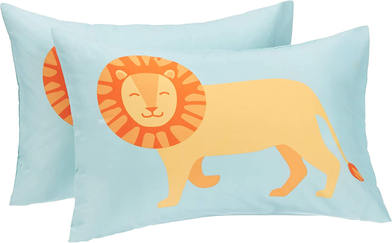 Grass Green Dinosaur Standard Set Easy-Wash Microfiber Pillow Cases Basics Kids Dino Friends Soft