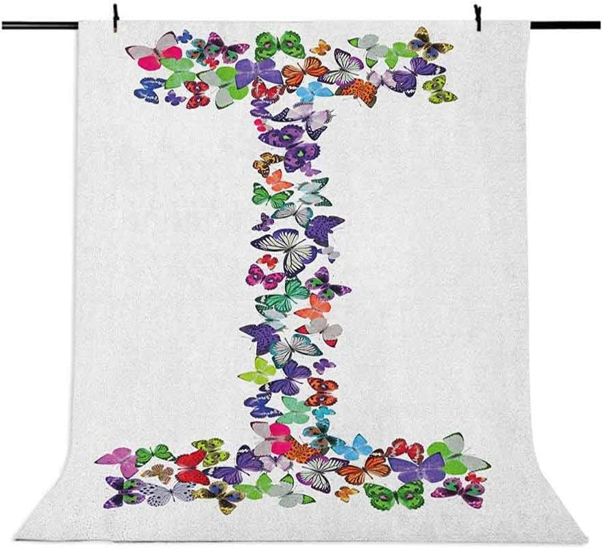 8x12 FT Letter I Vinyl Photography Backdrop,Alphabet Font Design with Colorful Butterflies in Different Sizes and Shapes Print Background for Baby Birthday Party Wedding Graduation Home Decoration