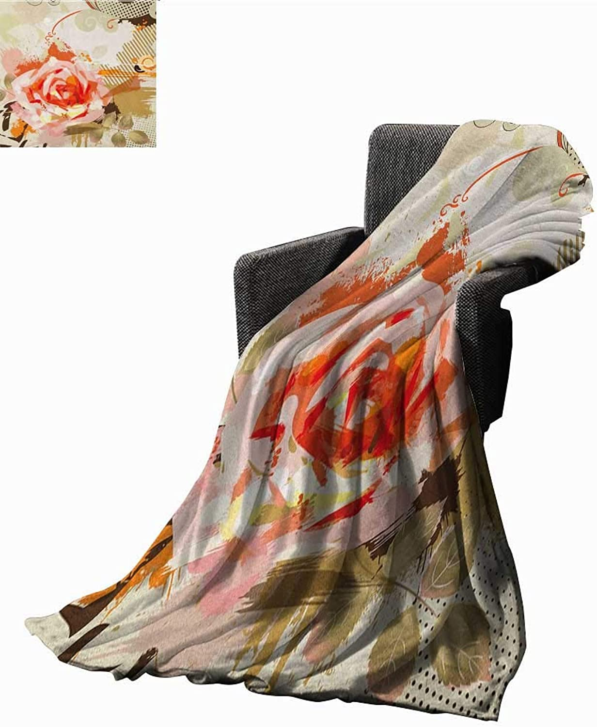 WilliamsDecor Bed or Couch 60  x 35 pink Lightweight Blanket Abstract Artistic Composition with Big Grunge pink and Floral Retro Motifs Print Summer Quilt Comforter Khaki orange Pink