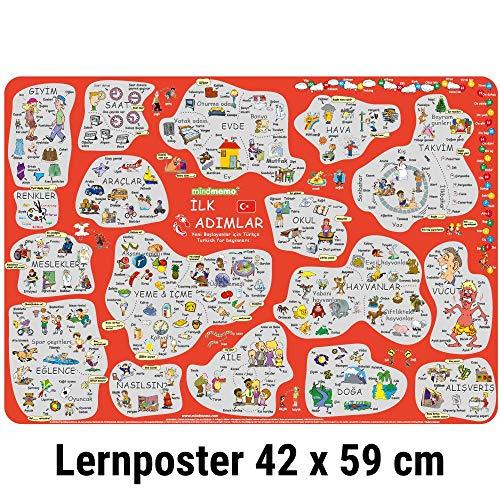 mindmemo Lernposter - Türkisch für Anfänger - spielend Türkisch lernen Kinder Vokabeln lernen mit Bildern Lernhilfe ILK ADIMLAR Poster DIN A2 42x59 cm PremiumEdition Transportrolle