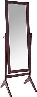 علامت طلایی Espresso Finish Wooden Cheval Mirror Floor Mirror