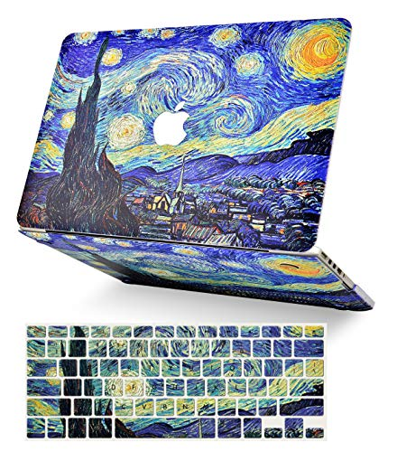 LuvCase 2 in 1 Laptop Case for MacBook Air 13 Inch (2018-2020) (Touch ID) A1932 Retina Display Rubberized Plastic Hard Shell Cover & Keyboard Cover (Starry Night)