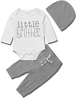 Baby Boys 3PCS Newborn Clothes Set Letter Print Outfits Tops +Long Pants +Hat