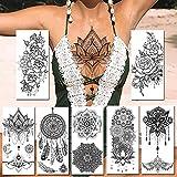7 Piezas Negro Tatuajes Temporales Pegatina Realista Joyería Falsa Mandala Flor Tatuajes Para Mujeres Papel De Arte