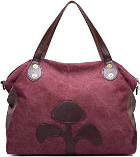 Women's Shoulder Bag, Handbag, Messenger Bag, Canvas Material, Large Capacity, Floral Pattern, Mother Bag, Art and Leisure, Suitable for Outdoor Activities Such as Travel, Office,Purple