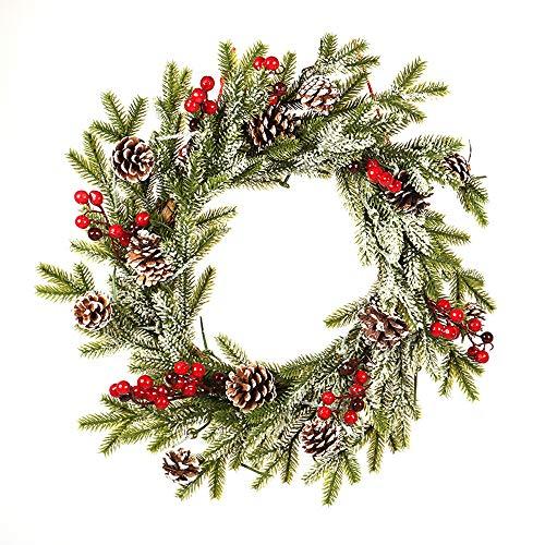 Nerioya kerstdecoratie Garland, wit, panty's, PE-dennenappel, rood, fruitkroon, Kerstmis, met gelvlokken, hangers, ornamenten