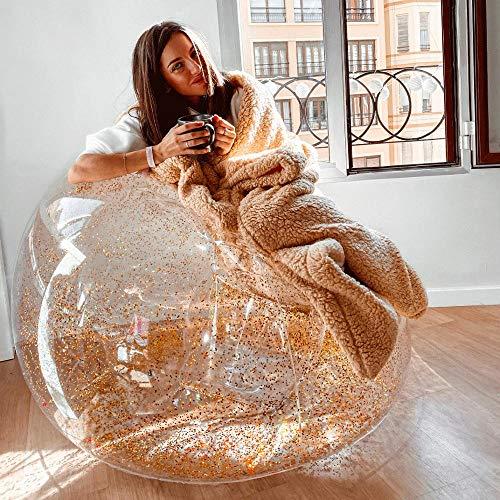 QIROG Inflable Sofa Gigante Brillantina Dorada para Sillas Habitacion Puff para Sentar Sofa Cama Puff Sofa Puff Asiento-Dorado