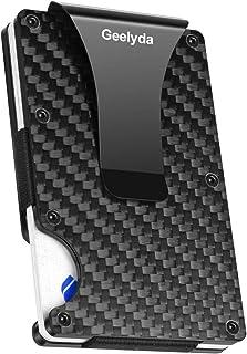 Carbon Fiber Wallet Mini Credit Card Holder, RFID Blocking Slim Wallet and Money Clip, Front Pocket Wallets for Men- Minimalist Futuristic Design (Black)
