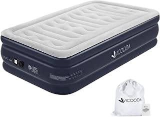 VICOODA Portable Air Mattress Twin Size, Inflatable Air Bed with Comfort Extra Thick PVC Without Leakage, Blow Up Bed with Built-in Pump for Camping Tent and Indoor