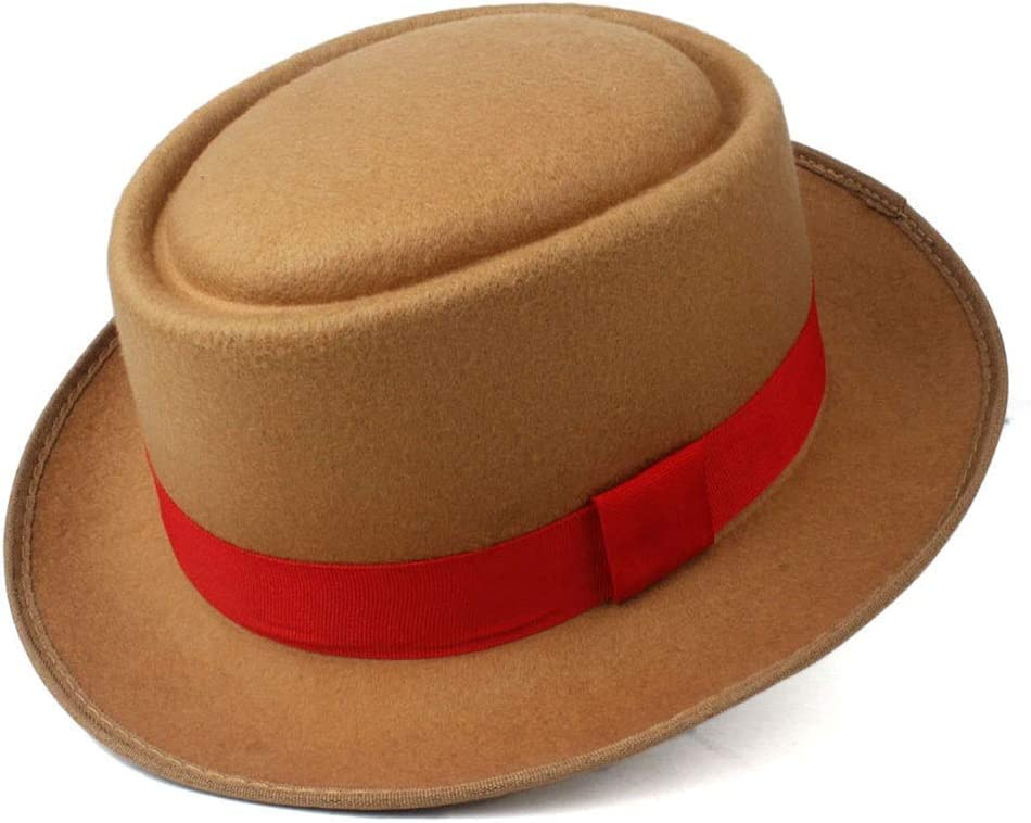 L.W.SUSL Unisex Men Women Pork Pie Hat with Red Ribbon Pop Jazz Hat Wool Flat Fedora Hat Size 58CM (Color : Khaki, Size : 58)
