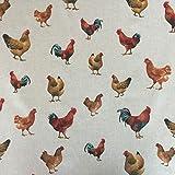 Stoff in Leinen-Optik mit Hühner-Design, 140cm breit,
