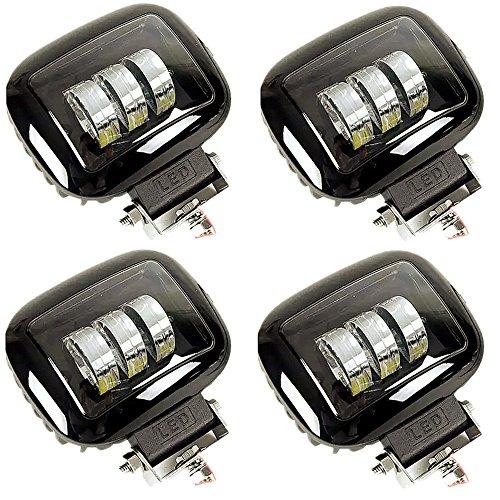 HelLäD 4PCS 30w Projecteur Phare de Travail Feux Antibrouillard LED Spot LED CREE Lumières pour Camion, Off Road, 4x4, SUV, UTV, VTT, Bateau, Moissonneuse,etc. PC-Lens, Plus de transmittance que la lumière ordinaire, avec cadeau