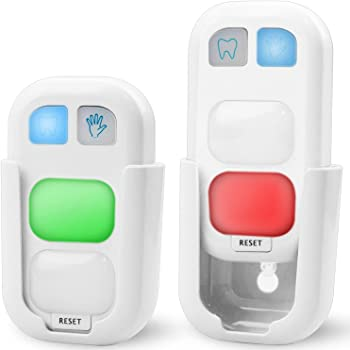 HONWELL Timer for Kids Battery Powered Tooth Brush Timer and Bathroom Hand Washing Timer with LED Color Light Great Gift for Children and Teens Training Coach (2 Pack)