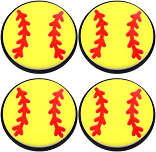 Four (4) of Softball Rubber Charms for Wristbands and Shoes Yellow