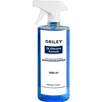 ORILEY Instant Hand Sanitizer 70% Isopropyl Alcohol Based Liquid Rinse-free Non-Sticky Skin-Friendly Germ Protection Palm Handrub Kills 99.99% Germs Without Water (1 Litre)