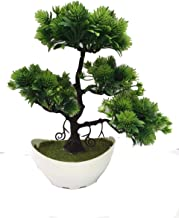 FOKIYA Decorating Lives Artificial Plant Bonsai Welcoming Tree Green Plant Pine Trees Plastic Potted Decoration