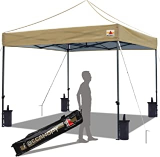 ABCCANOPY Popup Canopy 10x10 Outdoor Canopy Tent Commercial Canopy Instant Shelter Bonus Wheeled Carry Bag,Sandbags,Stakes and Ropes,Beige