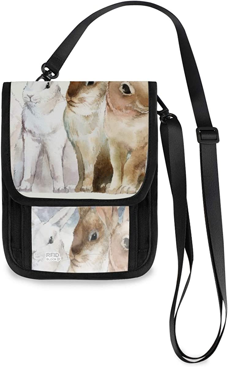 RFID Large discharge sale Blocking Travel Neck Year-end gift Wallet - Winter Rabbits Wild Snow Pass