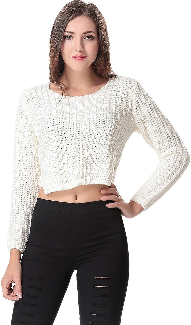 Aphratti Women's Long Sleeve Crochet Crop Top Pullover Knit Sweater