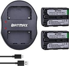 Batmax 2Pcs NP-FM50 Rechargeable Batteries(1800mAh) + USB Dual Charger for Sony NP-FM30 NP-FM51 NP-QM50 NP-QM51 NP-FM55H Battery and Sony M Type NP-FM50 Equivalent Camcorder/Digital Camera