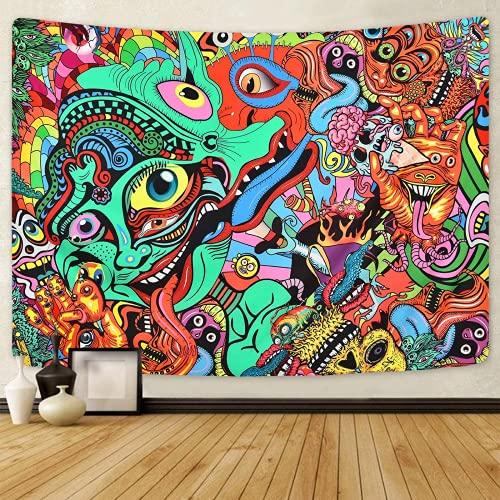 Tapiz de impresión 3D psicodélico árabe tapiz abstracto hippie tapices fantasía tapiz fractal colorido monstruo tapiz para habitación Yoga Mat Decoración del hogar regalo