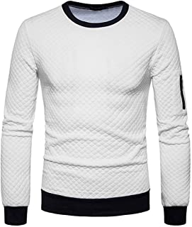 Mens Sweatshirt Pullover Modern Sporty Classic Design Men Sweatshirts Round Neck Long Sleeve Sweat Shirt Plaid Jacquard Ju...