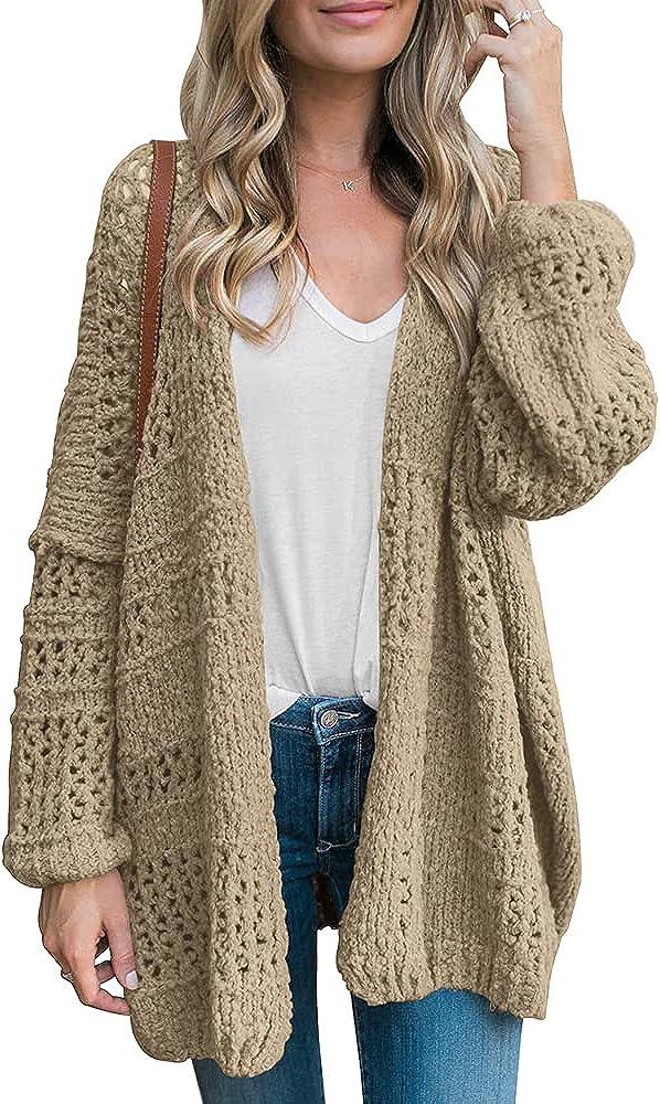 Risesun Women's Open Front Long Batwing Sleeve Crochet Lightweight Cardigan Oversized Boyfriend Boho Sweater