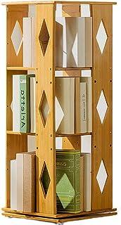 Estantería de bambú ajustable, de 3 a 6 niveles, giratoria, gruesa, estrecha, multifuncional, moderna, alta, para libros, estante de almacenamiento, estantes de madera abiertos, 37x37x95cm (15x15x37)