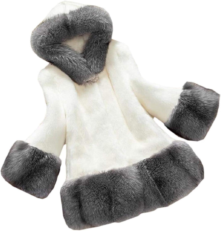 TymhgtCA Womens Contrast color Hood Winter Faux Fur Thick Coat Overcoat
