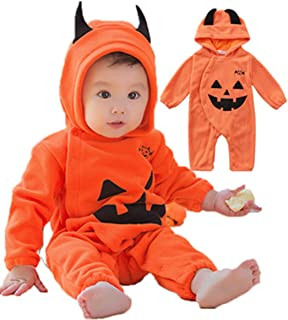 Toddler Baby Boys Girls Halloween Costume Pumpkin Hooded Romper Fancy Outfits (3-24 Months)
