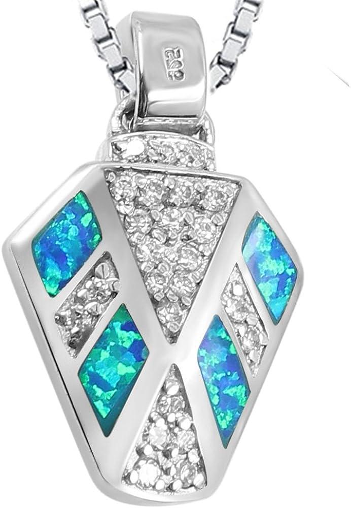 Sinlifu Silver Plated Pendant Necklace Blue Opal Fashion Jewlery for Women Girls Children