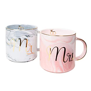 Vilight Unique Wedding and Engagement Gifts for The Couple - Mr and Mrs Mugs Bridal Shower and Housewarming Gifts for Newlywed - Marble Coffee Cups Set