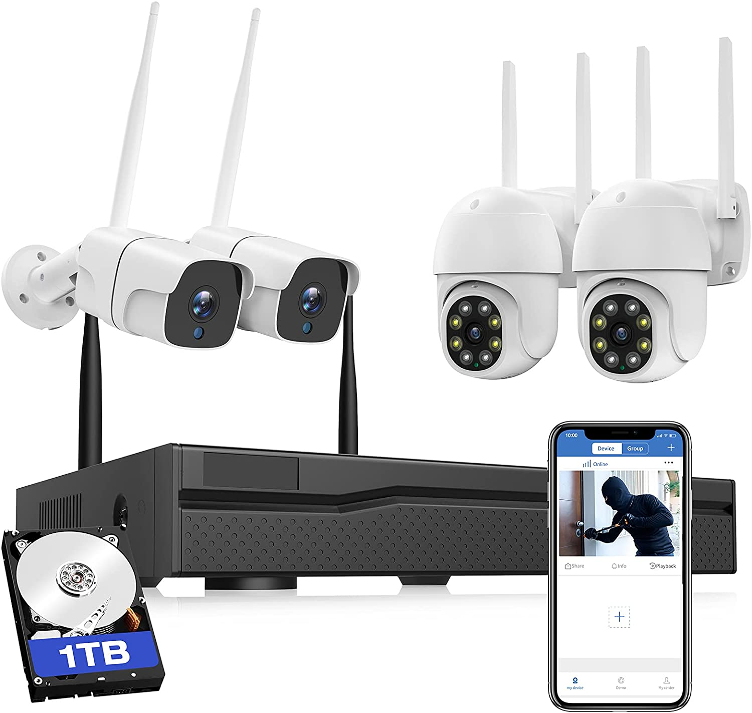 Security Camera System Wireless Outdoor, Pre-Installed 1TB Hard Drive WiFi Camera System for Home Monitoring, 4X 3MP CCTV Camera System with Night Vision, Motion Alert, Two-Way Audio, IP66 Waterproof