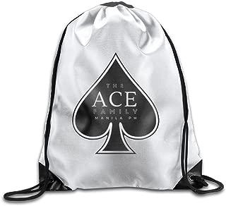 Men&Women The Ace Family Durable Gym Drawstring Backpack White