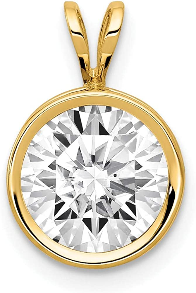 14k Yellow Gold 8mm Cubic Zirconia Bezel Pendant Charm Necklace Gemstone Fine Jewelry For Women Gifts For Her