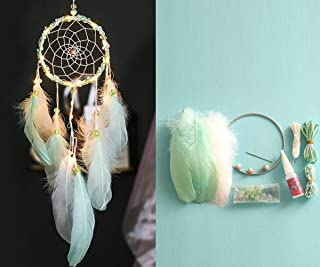olivadreamhouse DIY Moon Dreamcatcher Make Your Own Dream Catcher Arts and Crafts Kit for Tween Girls (Led Mint Green)