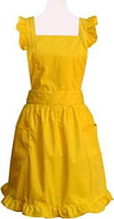Hyzrz Lovely Yellow Handmade Cotton Retro Aprons for Women Cake Kitchen Cook Apron with Pockets for Gift
